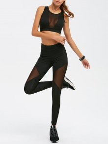 See-Through Mesh Spliced Skinny Sport Suit - Black