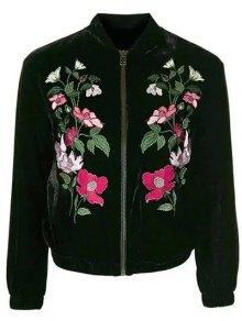 Flower Embroidered Velvet Jacket