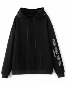Graphic Floral Embroidered Hoodie - Black