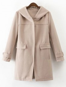 Hooded Pockets Wool Blend Coat