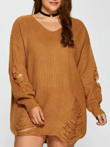 Plus Size Distressed Longline Pullover Sweater