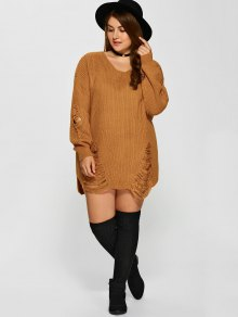 Plus Size Distressed Longline Pullover Sweater EARTHY: Sweaters ...