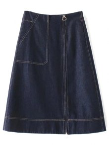 Zippered A Line Jean Skirt