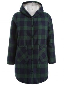 Hooded Plus Size Plaid Fleeced Coat - Blue And Green 3xl