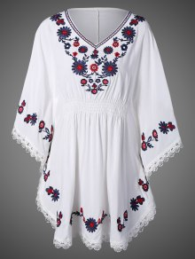 Buy Floral Embroidered Kaftan Top ONE SIZE WHITE