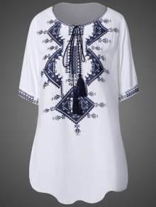 Tie Neck Embroidered Tunic Dress