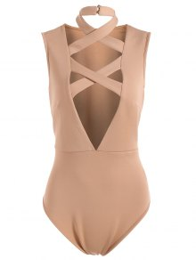 Plunging Neck Crisscross Strap Bodysuit