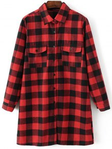 Long Sleeve Checked Boyfriend Shirt - Red S