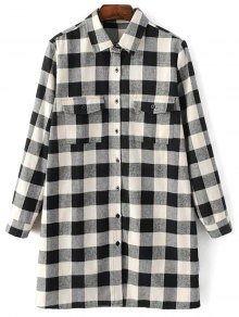 Long Sleeve Checked Boyfriend Shirt - White And Black S