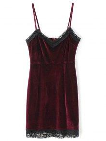 Lace Panel Pleuche Mini Cami Dress - Burgundy M