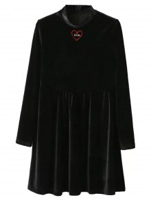 Mock Neck Velvet Flare Dress