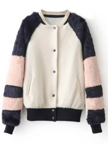 Faux Fur Panel Stand Neck Coat