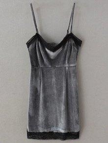 Lace Panel Pleuche Mini Cami Dress