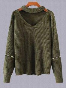Plus Size Cut Out Chuky Choker Sweater