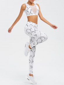 High Waist Mesh Spliced Skinny Sport Suit - White