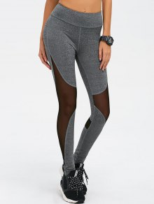 Mesh Spliced High Waist Skinny Yoga Leggings - Gray