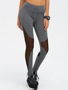 Mesh Spliced High Waist Skinny Yoga Leggings - Gray