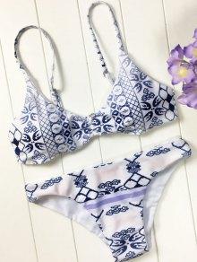 Bikini matelassé motif porcelaine bleu et blanc