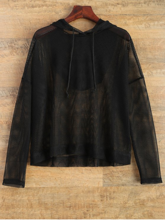 hot Hooded Sheer Mesh Top - BLACK L
