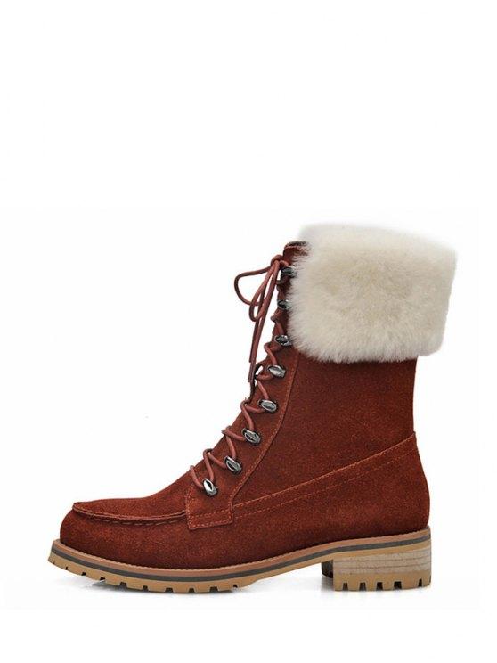 Tie Up Metal Faux Fur Short Boots - DARK AUBURN 39 Mobile