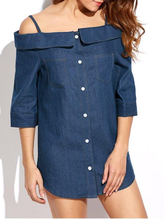 shop Button Up Off The Shoulder Denim Dress - BLUE L
