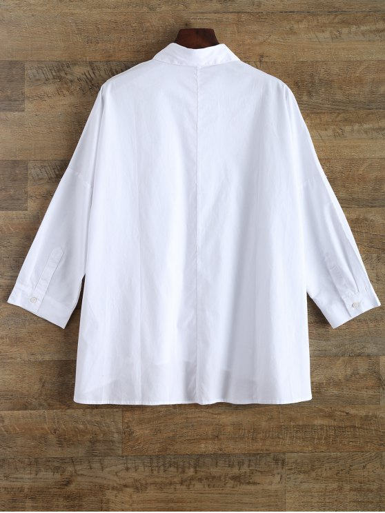 Embroidery Oversized Shirt With Pockets - WHITE L Mobile