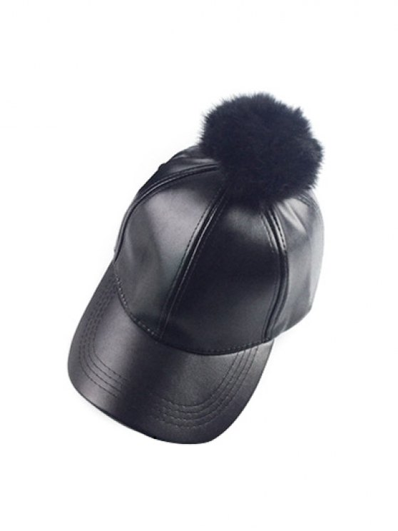 Hip Hop Faux Leather Pompom Baseball Hat - BLACK  Mobile