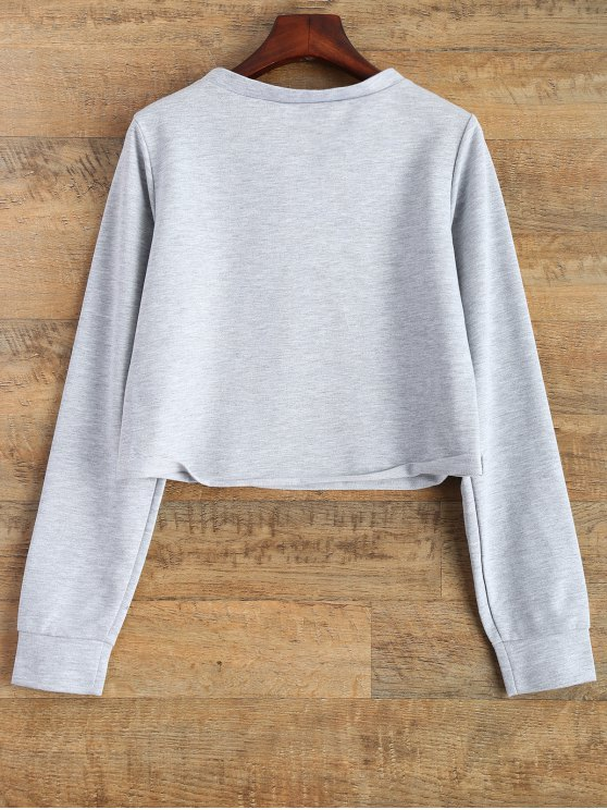 Lace Up Cropped Sweatshirt - GRAY L Mobile
