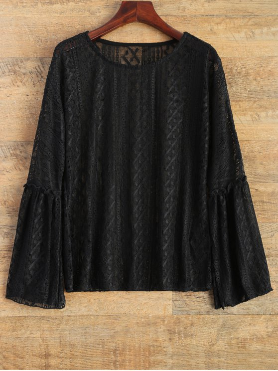 Bell Sleeve Sheer Lace Top - BLACK M Mobile