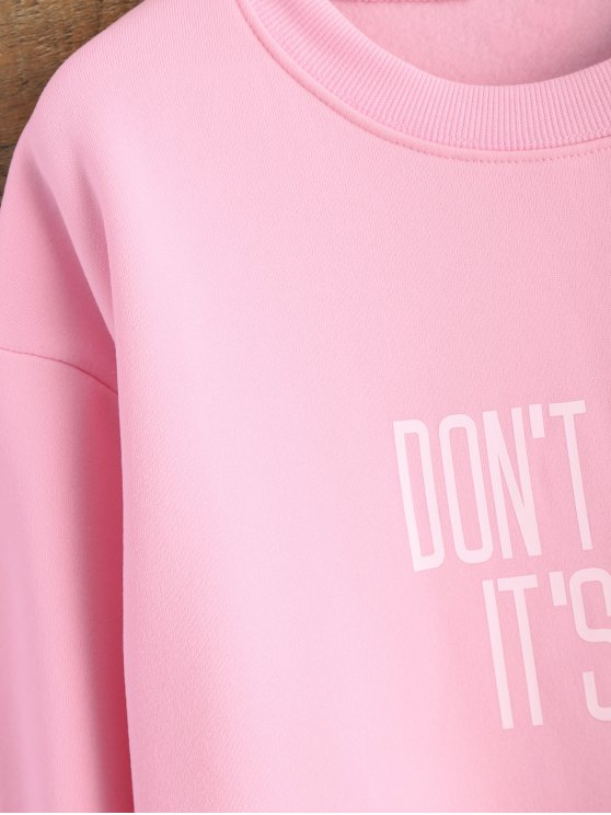 Letter Pattern Jewel Neck Sweatshirt - PINK XL Mobile