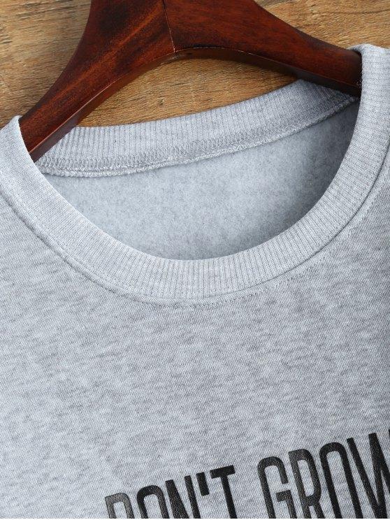 Letter Pattern Jewel Neck Sweatshirt - GRAY L Mobile
