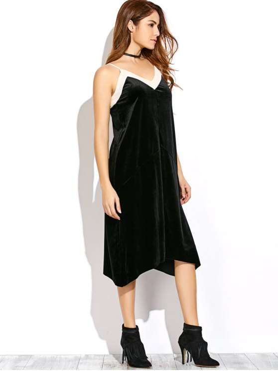 Mesh Trim Velvet Cami Dress - BLACK L Mobile