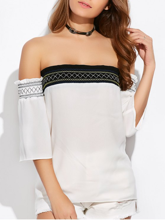 Off Shoulder Tunic Blouse - WHITE XL Mobile