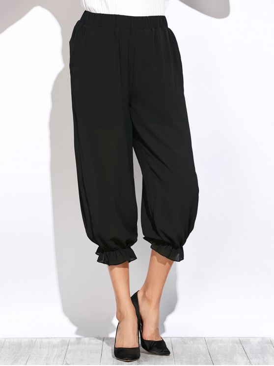 See Through Lantern Pants - BLACK 2XL Mobile