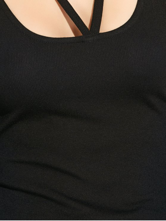 Scoop Neck Strappy T-Shirt - BLACK XL Mobile