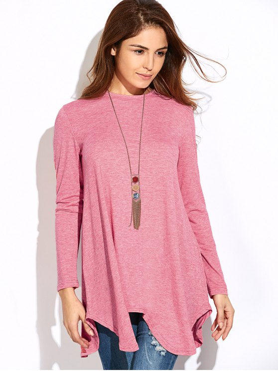 Baggy Asymmetric T-Shirt - PINK S Mobile