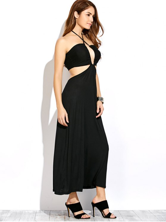 Twist Halter Cut Out Maxi Dress - BLACK M Mobile
