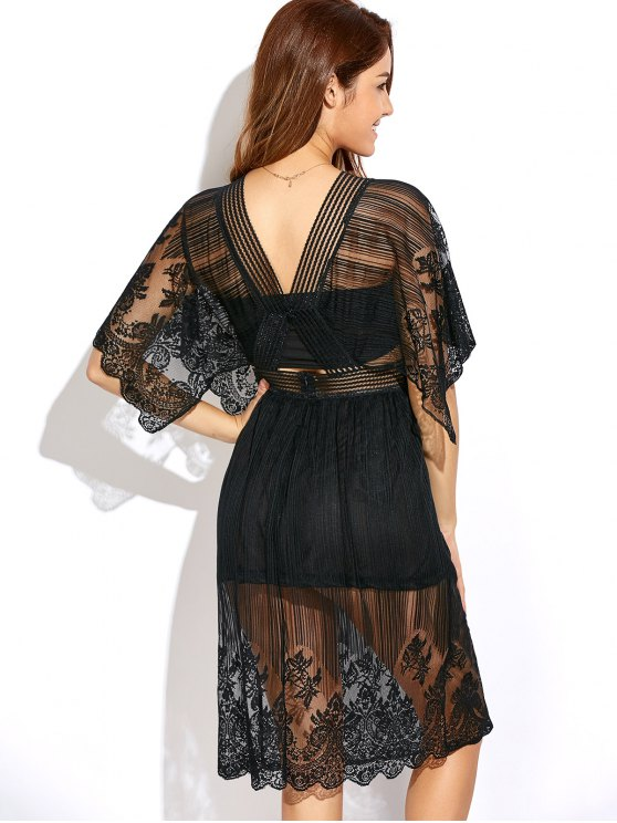 Cutout Waist Lace Dress - BLACK L Mobile