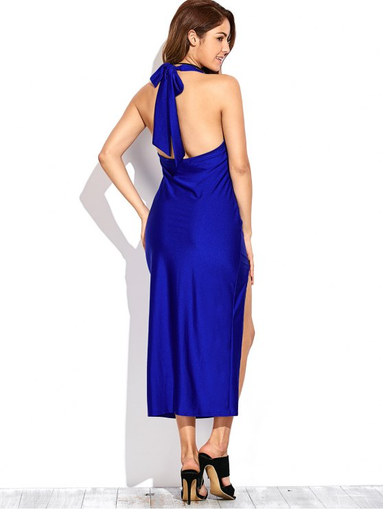 High Slit Draped Maxi Prom Dress - SAPPHIRE BLUE L Mobile