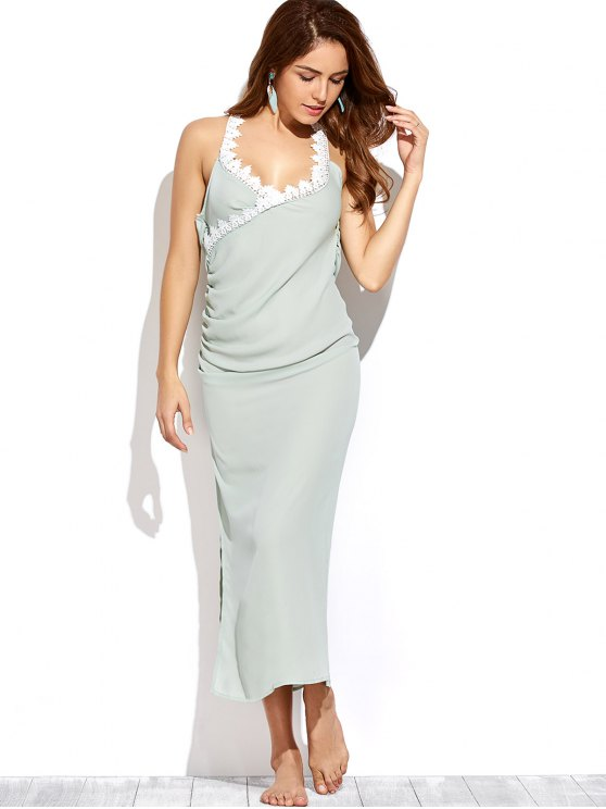 Draped Open Back Prom Dress - LIGHT GREEN XL Mobile