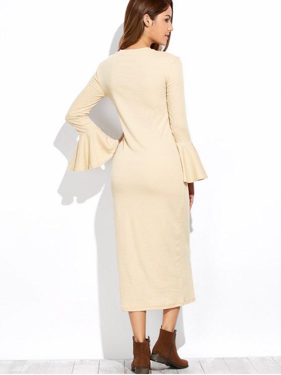 Bell Sleeve Midi Pencil Dress - APRICOT L Mobile