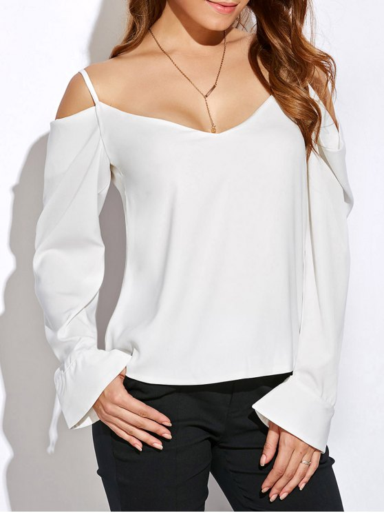 V cuello Cold Shoulder Top de manga larga - Blanco M