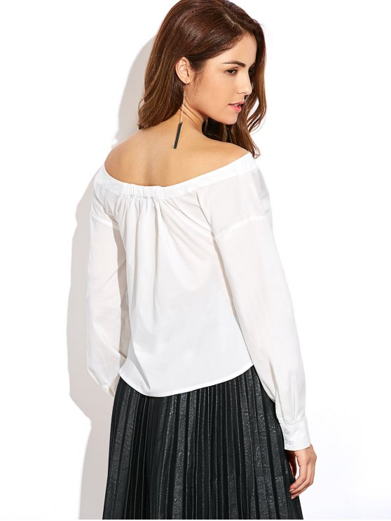 Off The Shoulder Button Up Blouse - WHITE M Mobile