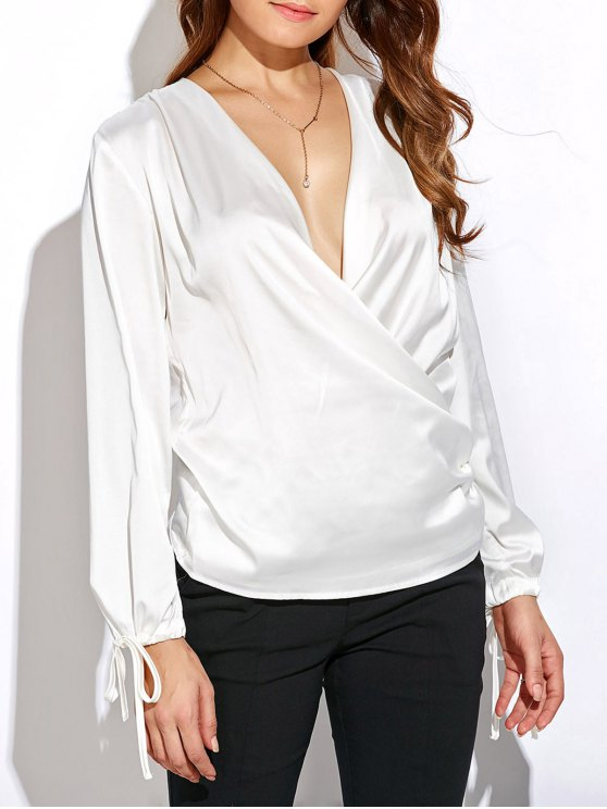 Crossover Long Sleeve Chiffon Top - WHITE XL Mobile