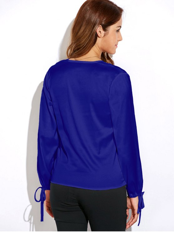 Crossover Long Sleeve Chiffon Top - BLUE L Mobile