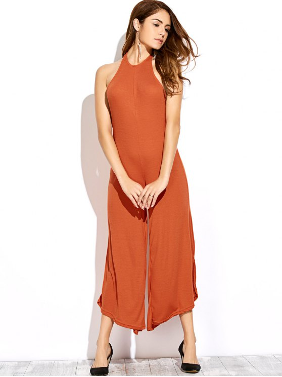 Backless Halter Flared Jumpsuit - DARKSALMON M Mobile