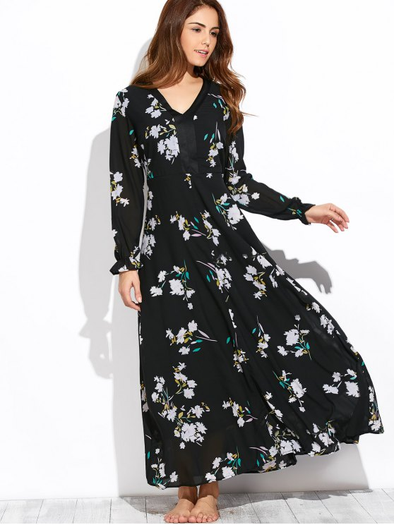 Flowy Printed Long Sleeve Maxi Dress - BLACK L Mobile