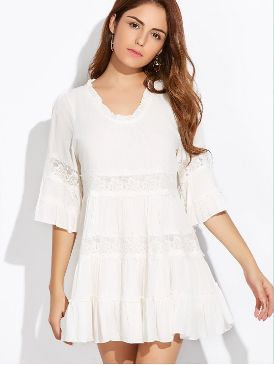 Lace Trim Tiered Mini Dress - WHITE ONE SIZE Mobile