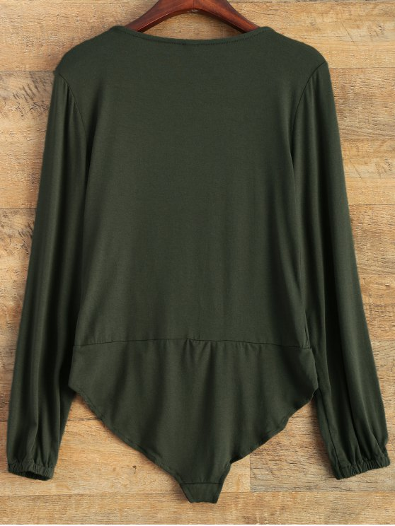 Plunging Neckline Bodysuit - BLACKISH GREEN S Mobile