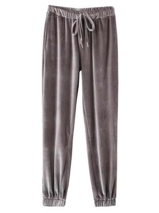 Pantalón de terciopelo con cordón - Gris S